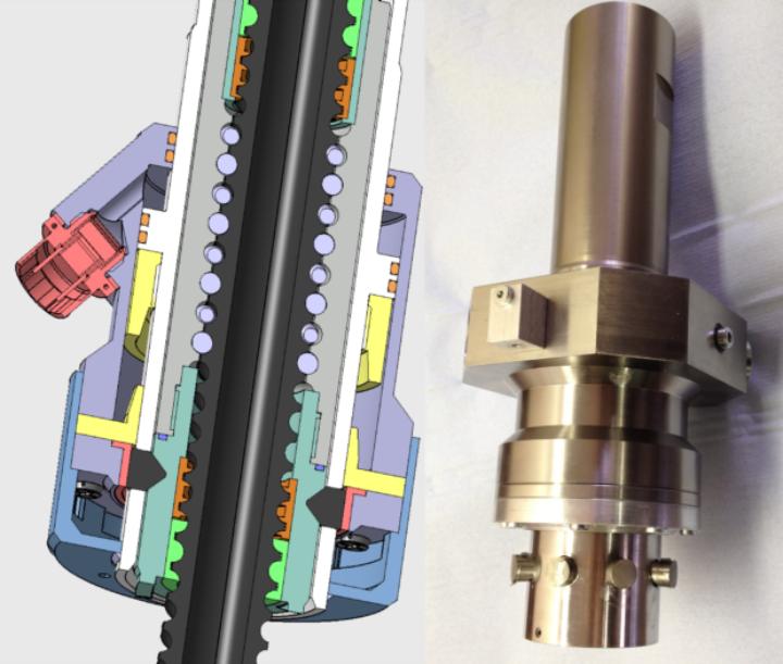 Bild 1: Pyrotechnischer Entkoppelungsmechanismus: CAD-Schnittbild (links), Prototyp im teilmontierten Zustand (rechts)